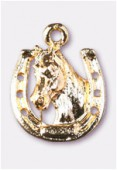 17x14mm Gold Plated Horse Shoe & Horse Head Charms Pendant x1