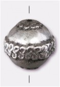 18mm Round Fancy Designed Bead Antiqued Silver x1