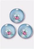 6mm Aqua Pink Czech Round Bead W / Inlay Flower x1