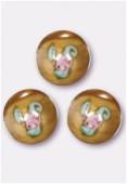 6mm Light Brown Pink Czech Round Bead W / Inlay Flower x1