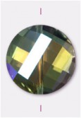18mm Crystal AB Twist Coin Celebrity Crystal x1
