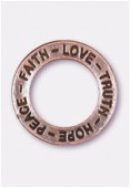 22mm Antiqued Copper Plated Message Charms Pendant x1