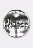 15mm Antiqued Silver Plated Hammered Sequin Chance Charms x2
