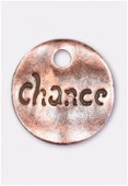 15mm Antiqued Copper Plated Hammered Sequin Chance Charms x2