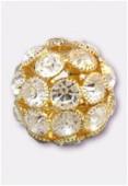 28mm Crystal On Gold Plated Rhinestone Snowball x1