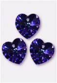 10.3x10mm Swarovski Crystal Heart Pendant 6228 Heliotrope x4