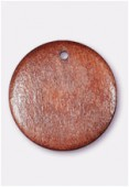 23mm Flat Wooden Pendant Disc Dark Brown x1
