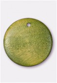 23mm Flat Wooden Pendant Disc Green x1