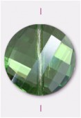 18mm Peridot Twist Coin Celebrity Crystal  x1