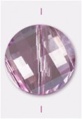 18mm Pink Twist Coin Celebrity Crystal x1