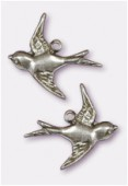 18x17mm Silver Plated Swallow Stamping Charms x2