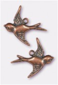 18x17mm Antiqued Copper Plated Swallow Stamping Charms x2