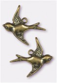 18x17mm Antiqued Brass Plated Swallow Stamping Charms x2