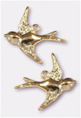 18x17mm Gold Plated Swallow Stamping Charms x2