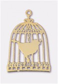 20x15mm Gold Plated Filligree Bird Cage Stamping x2