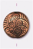 15x7mm Flat Designed Fancy Bead Copper x2