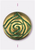14mm Rosebud Bead Green Patina Brass x2