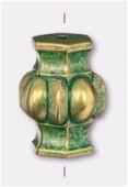 18x13mm Fancy Beaded Tube Bead Green Patina Brass x2