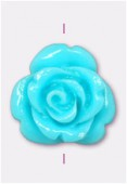 13mm Resin Turquoise Rose x1