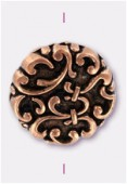 18x6mm Flat Designed Fancy Bead Antiqued Copper x2
