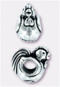 13x8mm Antiqued Silver Eurobeads Rooster Charms x1