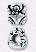 12x9mm Antiqued Silver Eurobeads Teddy Bear Charms x1