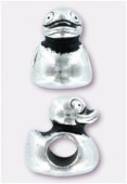 12x9mm Antiqued Silver Eurobeads Duck Charms x1