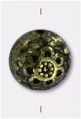 10x7mm Flat Designed Fancy Bead Antiqued Gilt x2