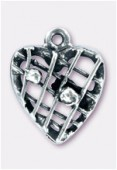 .925 Sterling Silver Small Heart Pendant W / Beaded Mesh Design 16mm x1