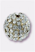 10.5mm Crystal On Gold Plated Pave Ball x1