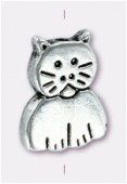 11x8mm Antiqued Silver Plated Cat Beads x2