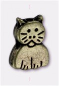 11x8mm Antiqued Brass Plated Cat Beads x2