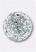 8mm Rhinestones Pave Ball Crystal / White x1