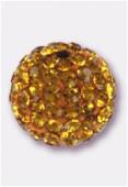 10mm Rhinestones Pave Ball  Topaz / Topaz x1