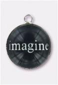 20mm Alloy Pendant Imagine Round Glass Pendant Charms x1