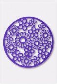 19mm Plum Color Coated Brass Filigree Metallized Stamping Round Flower x1