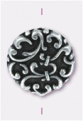 18x6mm Flat Designed Fancy Bead Antiqued Silver x2