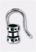 .925 Sterling Silver End Crimp W / Hook For 3mm Cord x1