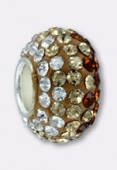 12mm Rhinestones Pave Ball Mix Topaz x1