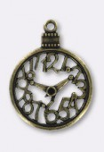30mm Antiqued Brass Plated Watch Pendant x1