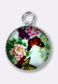 10.5mm Alloy Pendant Butterfly Round Glass Pendant Charms x2
