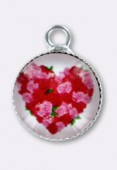 10.5mm Alloy Pendant Heart Round Glass Pendant Charms x2