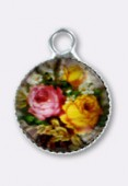 10.5mm Alloy Pendant Flowers Round Glass Pendant Charms x2