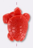 Resin Coral Turtle 32x24mm x1