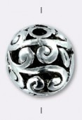 11mm Antiqued Silver Plated  Filigree Round Beads x2