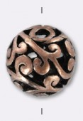 11mm Antiqued Copper Plated Filigree Round Beads x2