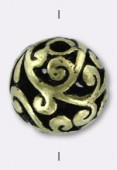 14mm Antiqued Brass Plated Filigree Round Beads x2