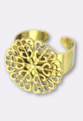 20mm Gold Plated Filigree Flower Adjustable Ring W / Setting x1