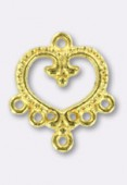 """22x20mm Gold Plated """"Baroque Heart-Chandelier'' With 5 Loop For Hanging Components x2"""