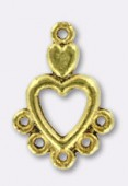 18x12mm Gold Plated Heart Chandelier W / 5 Loop For Hanging Components x2